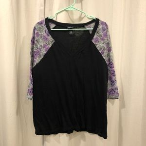 Torrid Black and Floral Raglan Tee